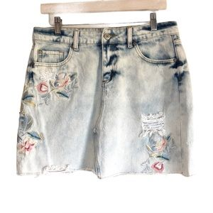 Dex Embroidered and distressed denim skirt